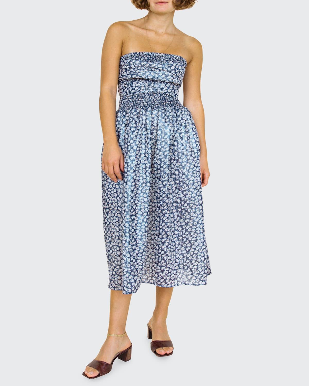 Gia Floral Strapless Midi Dress