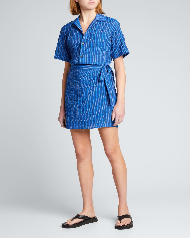 Gio Crinkle Cotton Striped Shirt