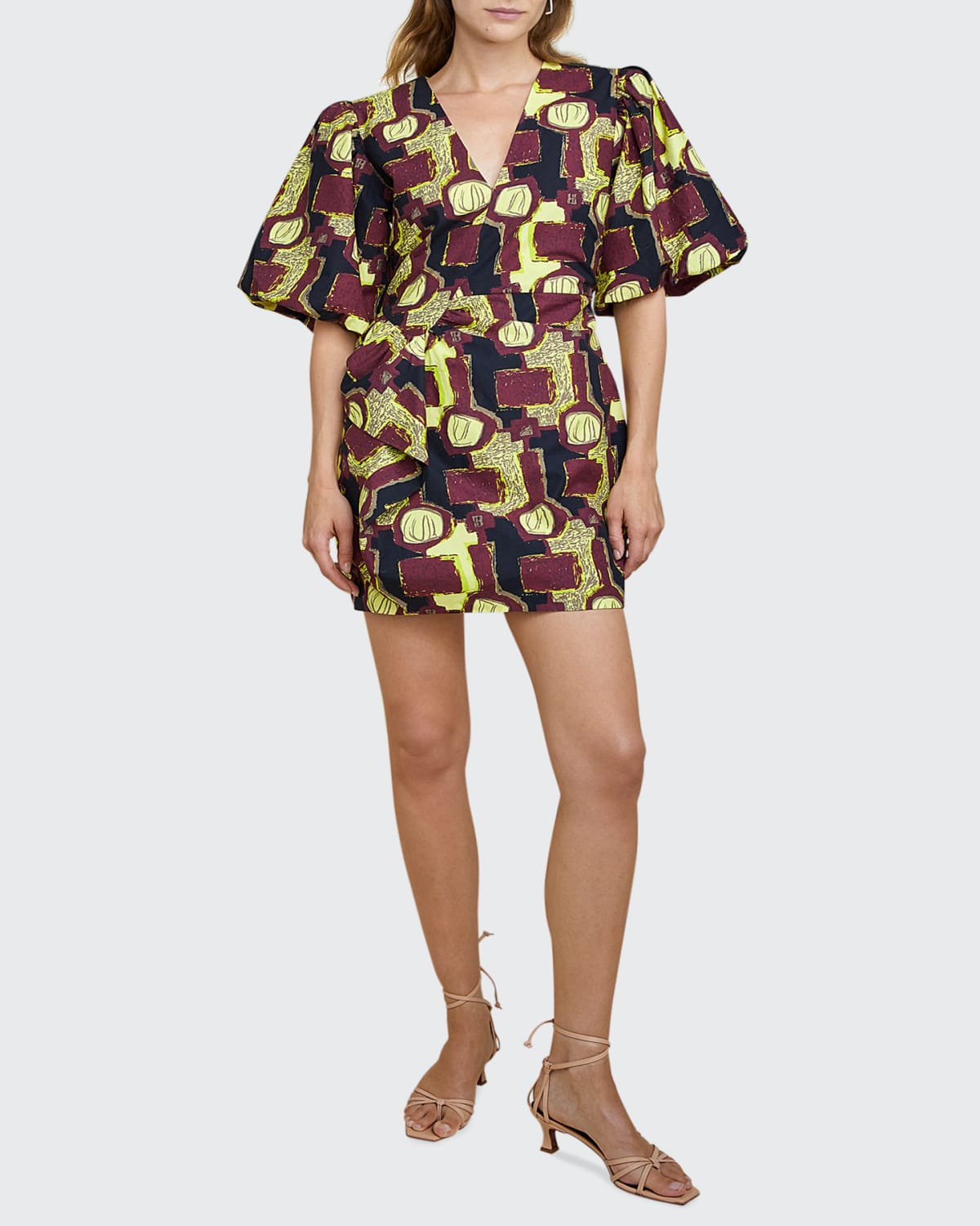 Lily Printed Puff-Sleeve Dress