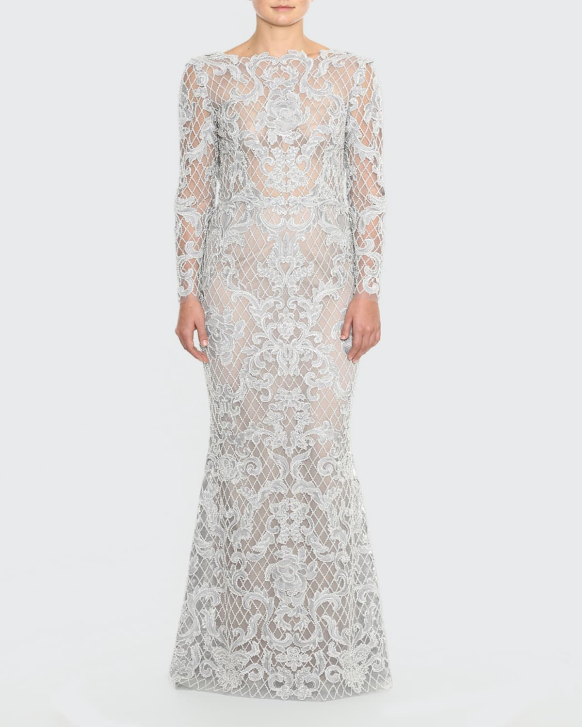 Cowl-Back Embroidered Damask Lace Gown