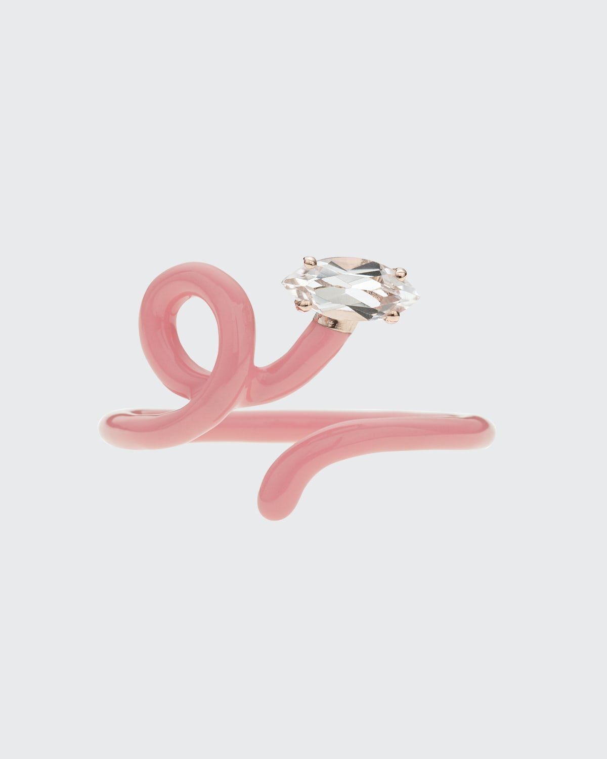 Baby Vine Tendril Ring with Rock Crystal and Enamel
