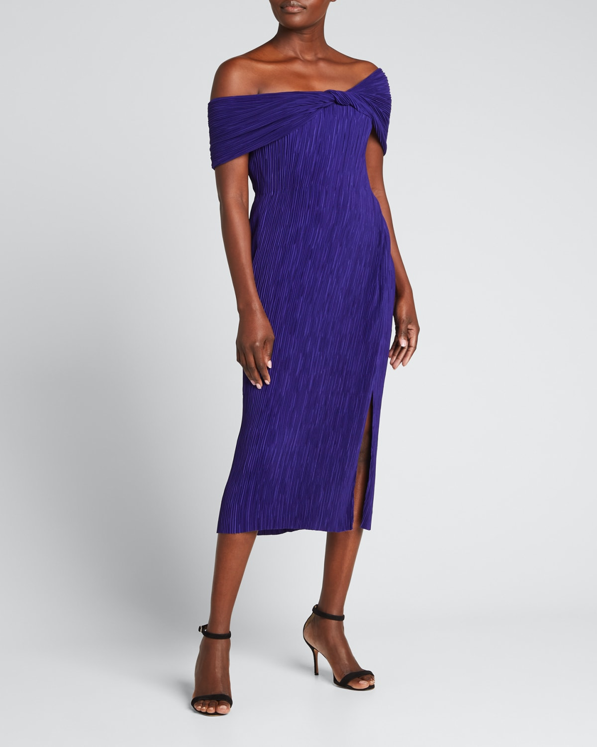 Pleated Off-the-Shoulder Dress