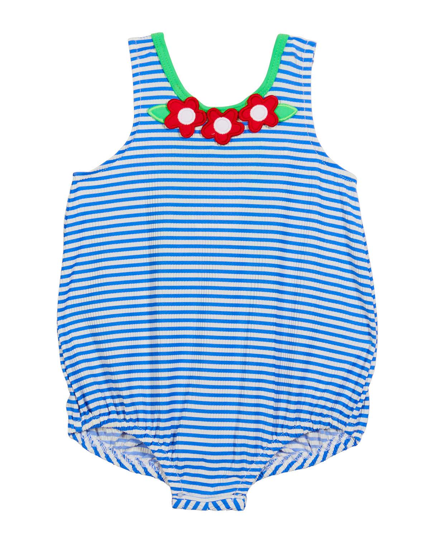Girl's Seersucker Striped Floral One-Piece Swimsuit
