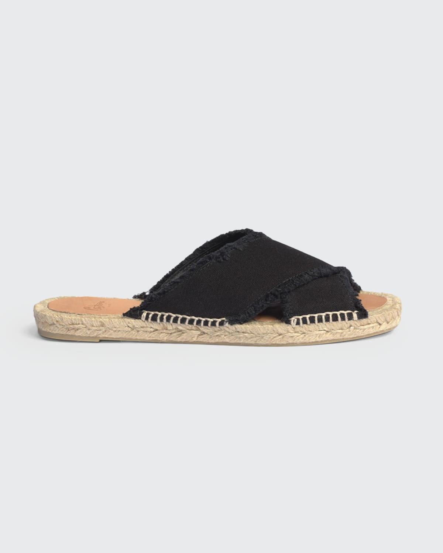 Palmera Crisscross Frayed Espadrille Slide Sandals