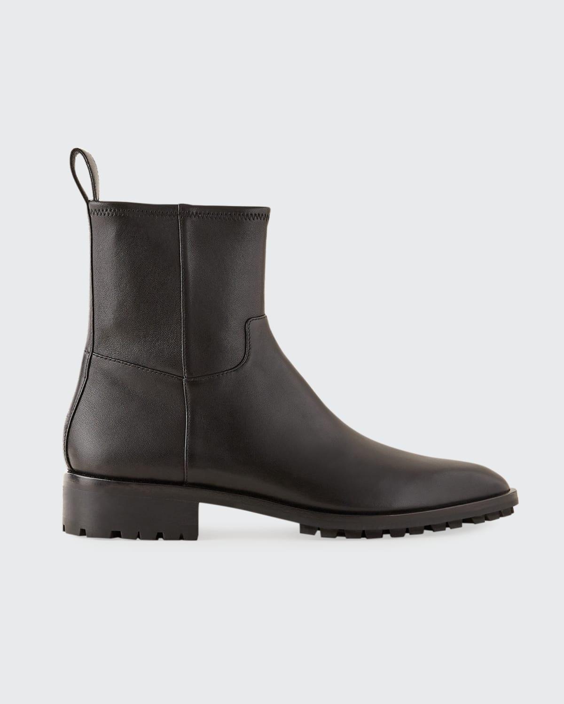 Dakota Leather Lug-Sole Ankle Boots