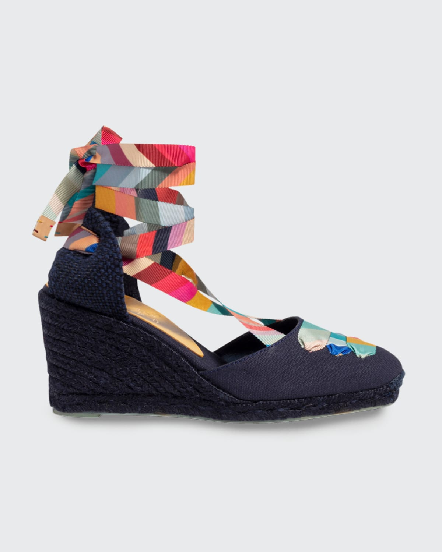 x Paul Smith Multicolored Ankle-Wrap Espadrilles