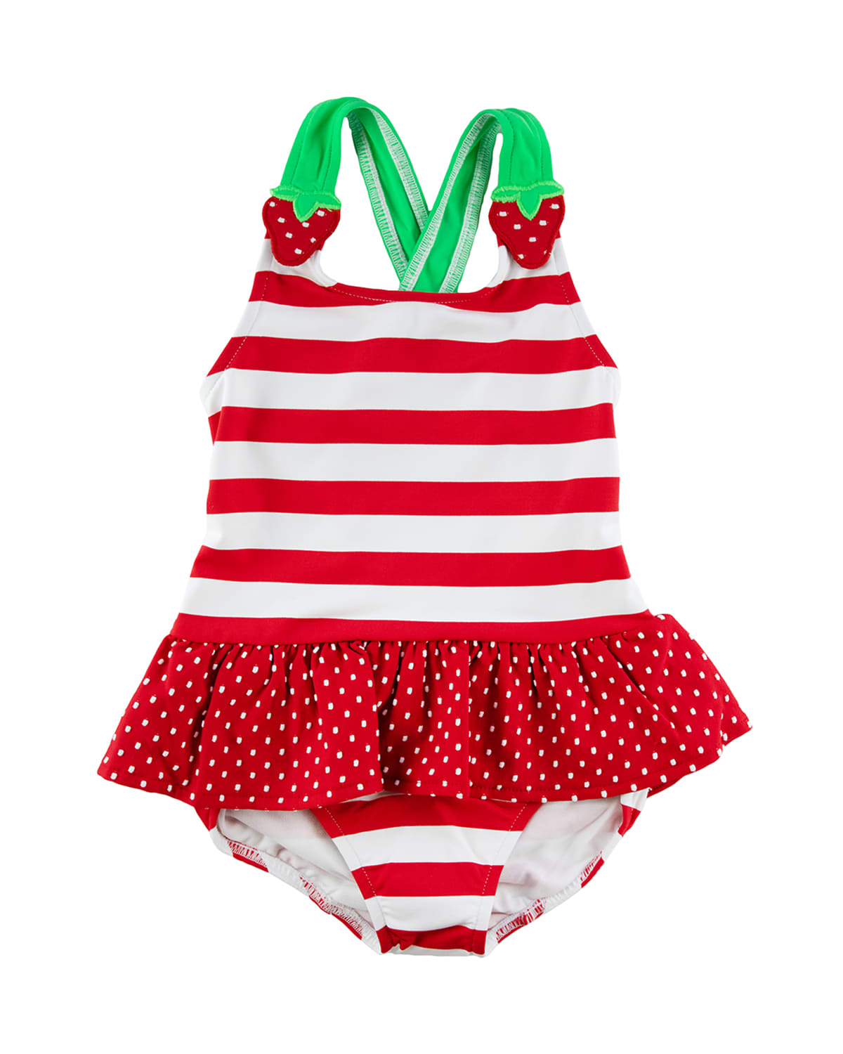 Girl's Striped Strawberry One-Piece Swimsuit