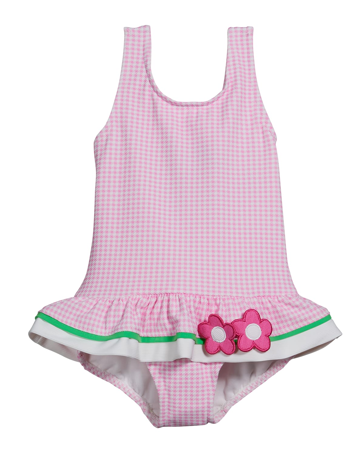 Girl's Gingham Floral One-Piece Swimsuit