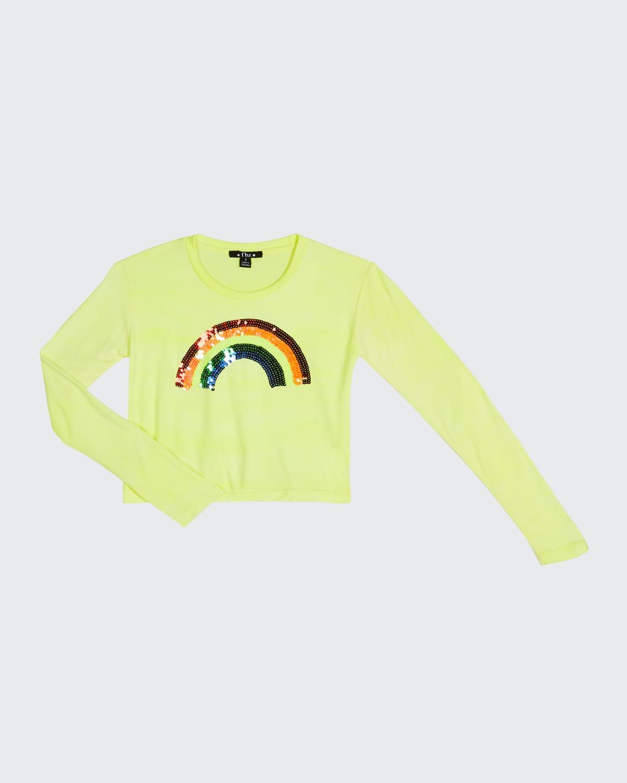 Girl's Sequined Rainbow Long-Sleeve Tee