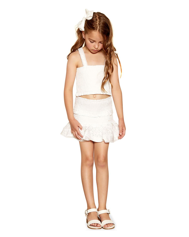 Girl's Nia Shirred Tie-Shoulder Cotton Top