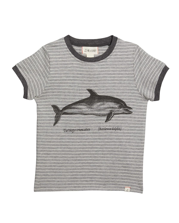 Boy's Falmouth Daphin-Print Striped T-Shirt