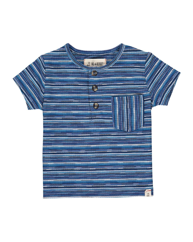 Boy's Striped Cotton Short-Sleeve Henley Shirt