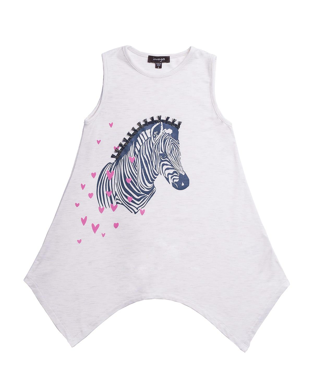 Girl's Zebra Hearts Graphic Sleeveless Top