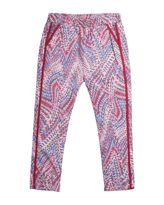 Girl's Printed Contrast-Trim Pants
