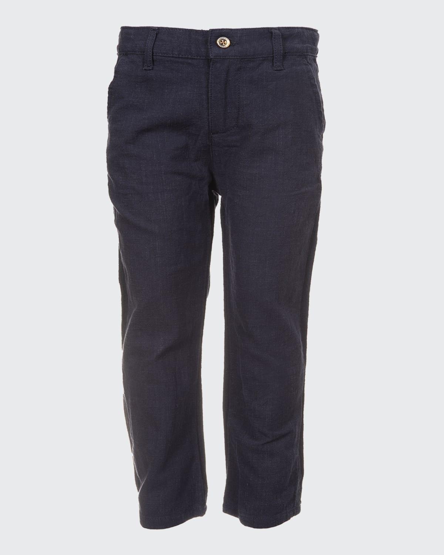 Boy's Solid Straight-Leg Ramie Pants