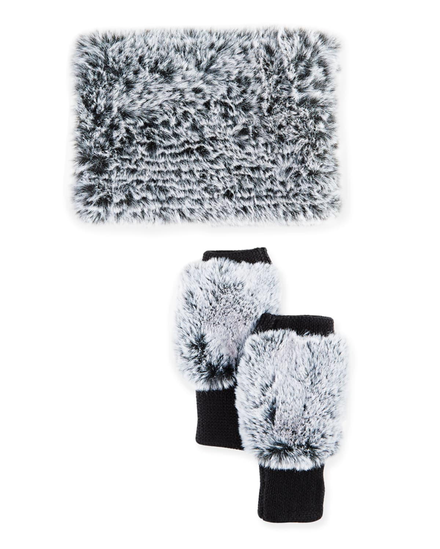 Snowtop Faux-Fur Cowl & Mittens Gift Set