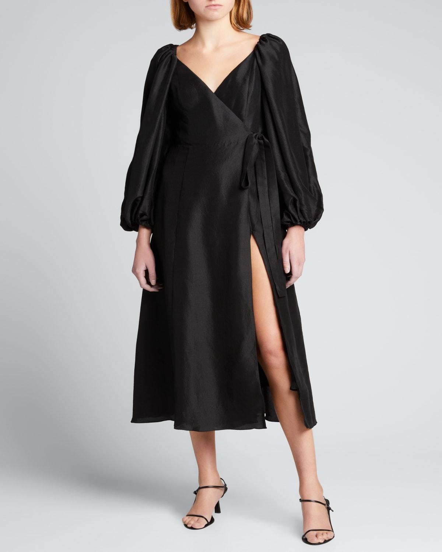 Evette Blouson-Sleeve Wrap Dress
