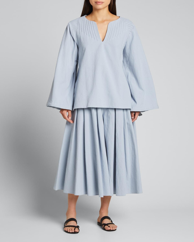 Yolanda Embroidered Drawstring-Sleeve Top