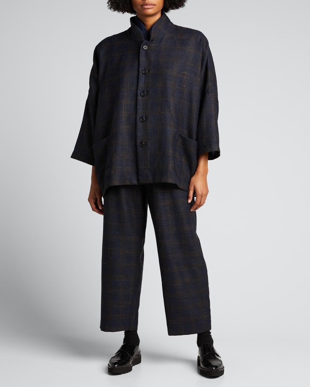 Plaid Sloped Shoulder 3/4-Sleeve Jacket