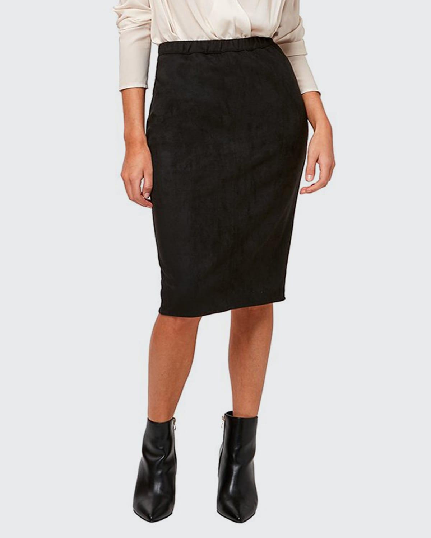 Charlize Vegan Suede Pencil Skirt