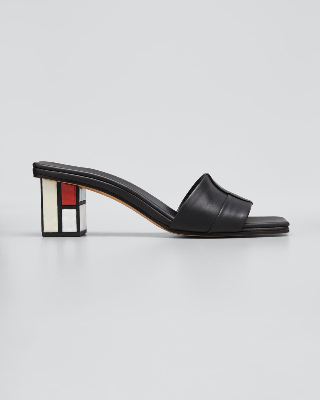 Quadro Leather Block-Heel Sandals