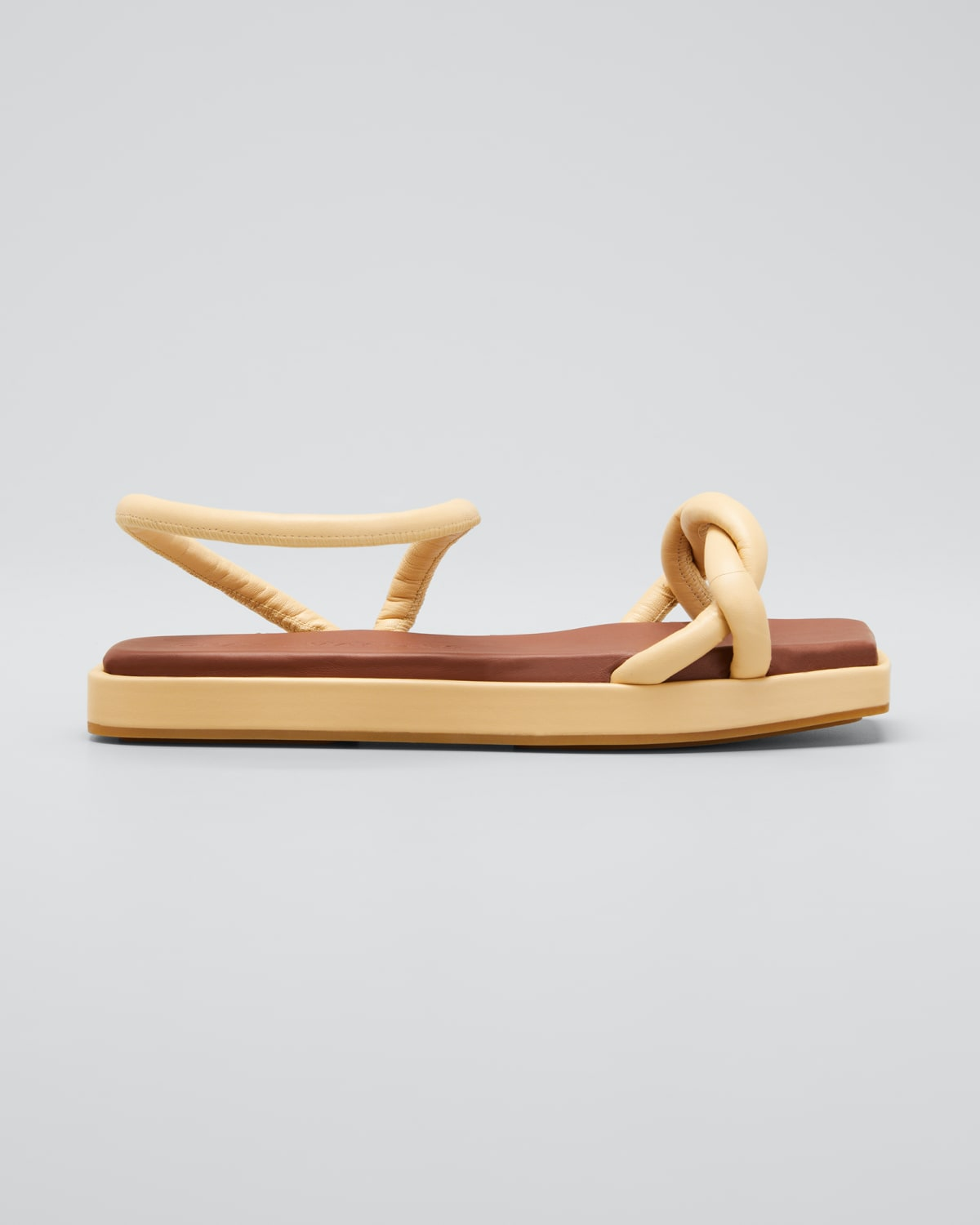 Roxie Knotted Leather Flatform Sandals