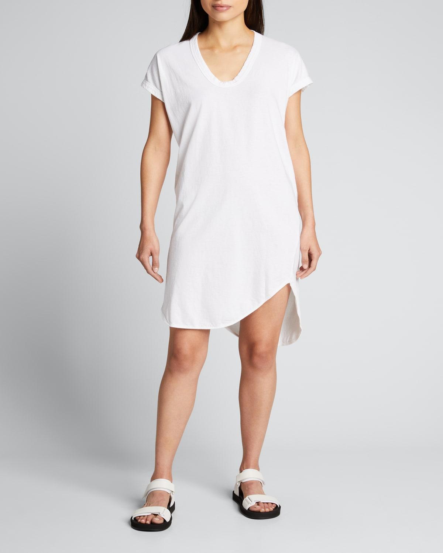 Boxy T-Shirt Dress with Asymmetric Hem