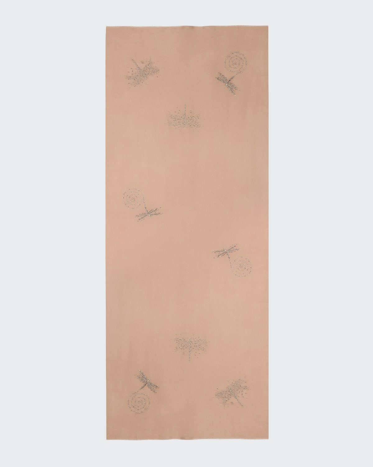 Fly Catcher Embroidered Cashmere Scarf