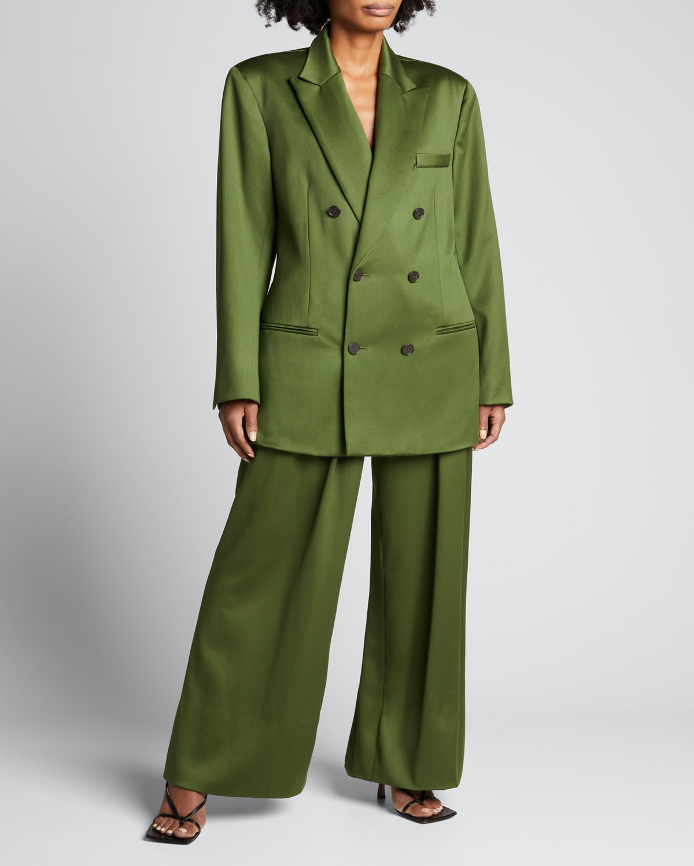 Double-Breasted Satin Wool Oversized Jacket