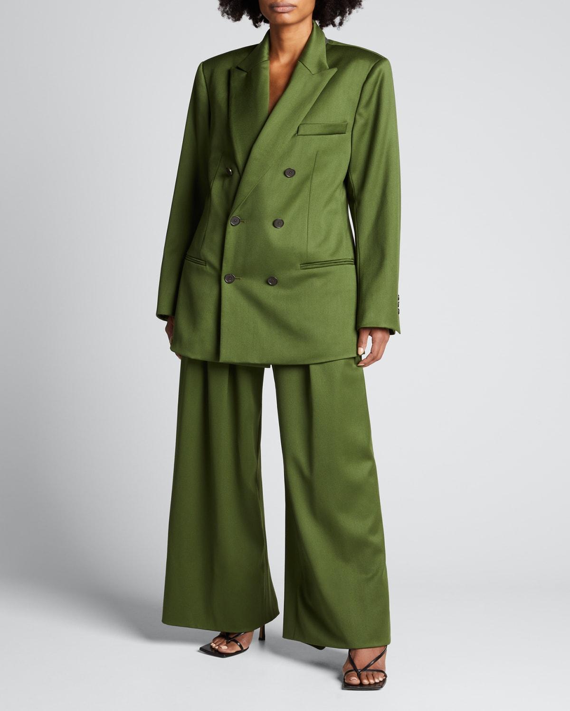 Solid Wool Satin Pleated Wide-Leg Pants