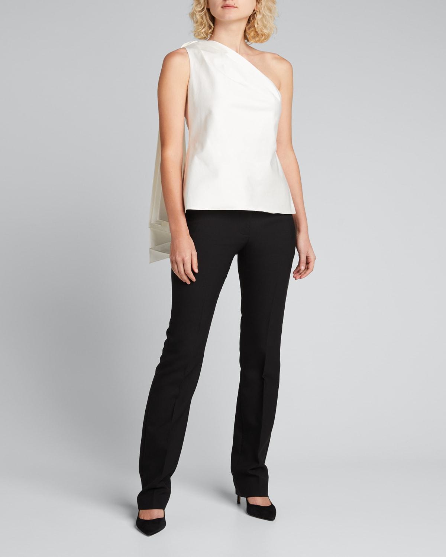 One-Shoulder Draped Satin Cotton Top