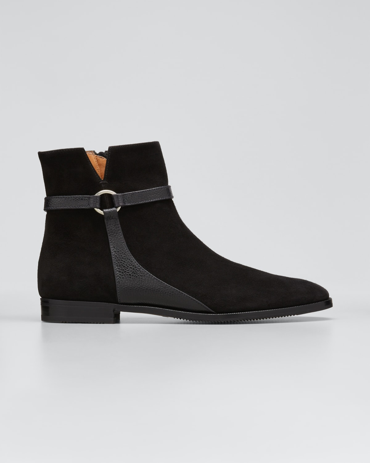 Suede Harness Ankle Booties