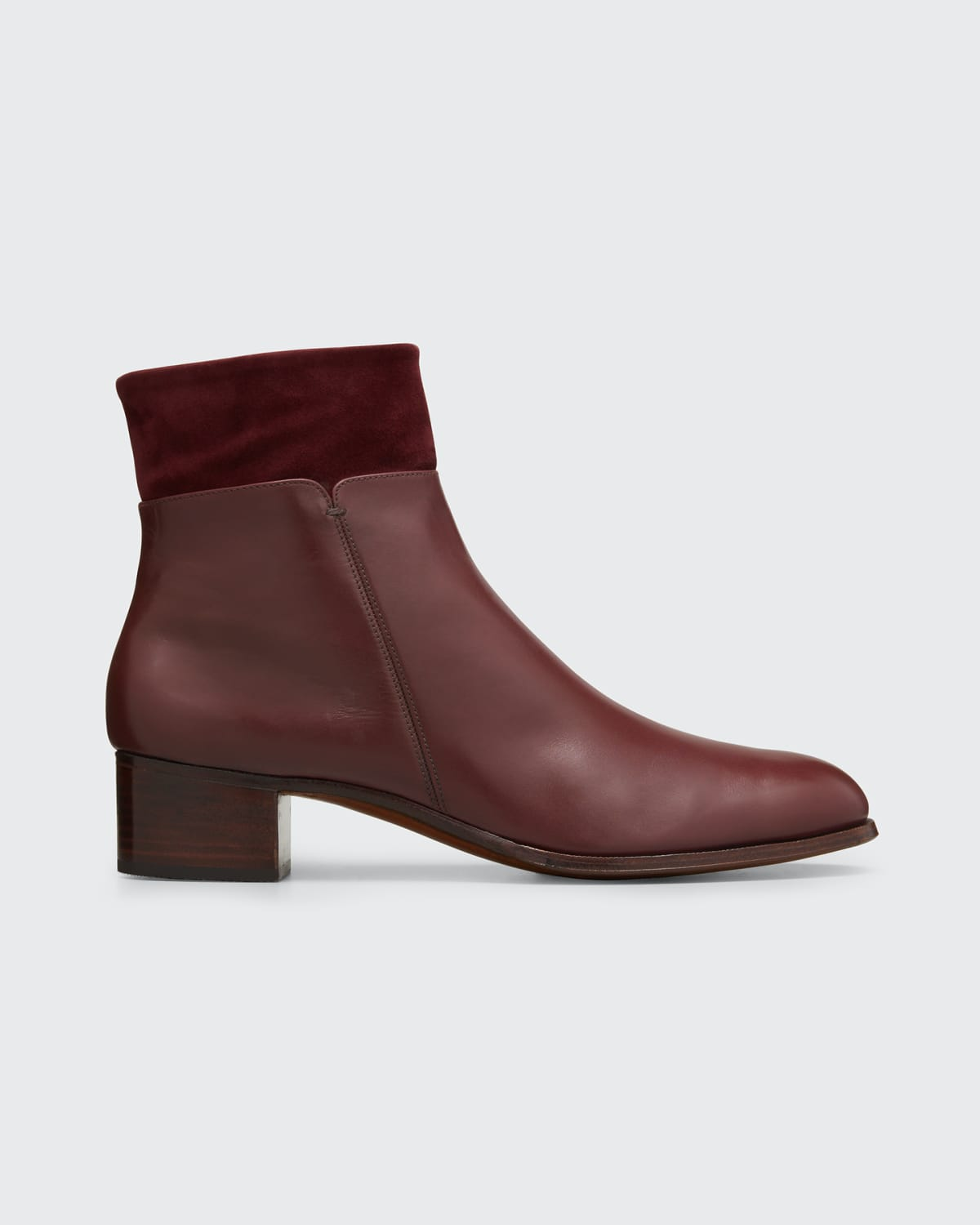 Leather Booties w/ Suede Collar