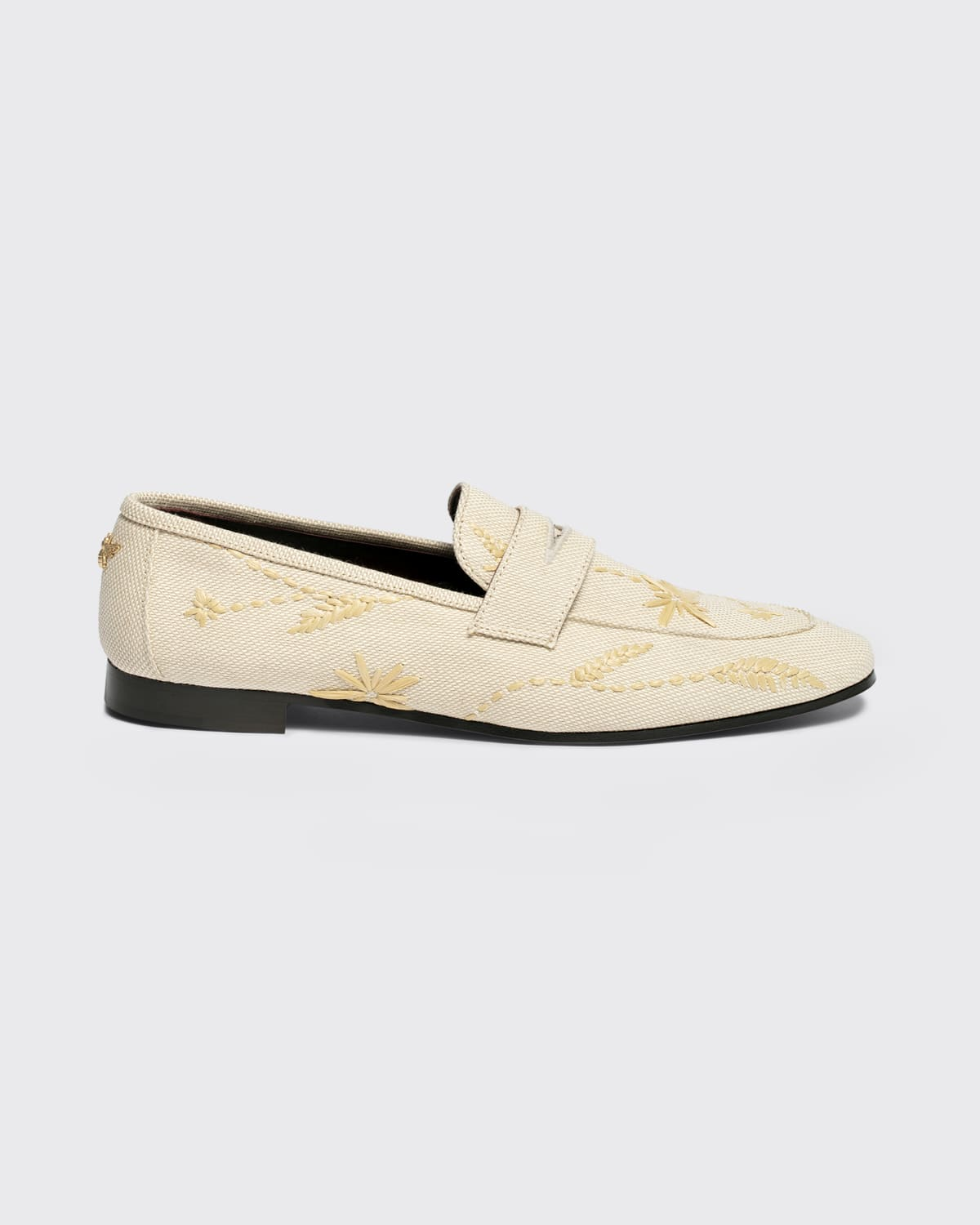 Embroidered Flower Cotton Penny Loafers