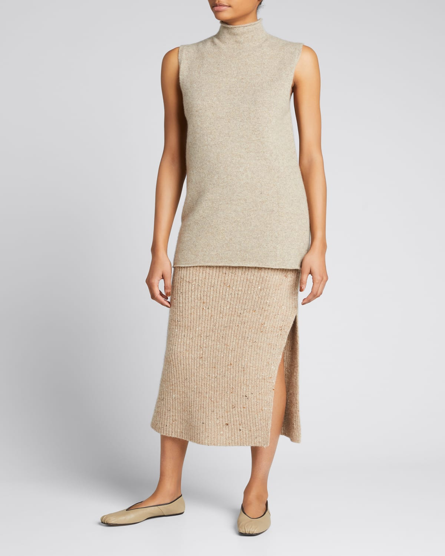 Mock-Neck Sleeveless Cashmere Knit Sweater