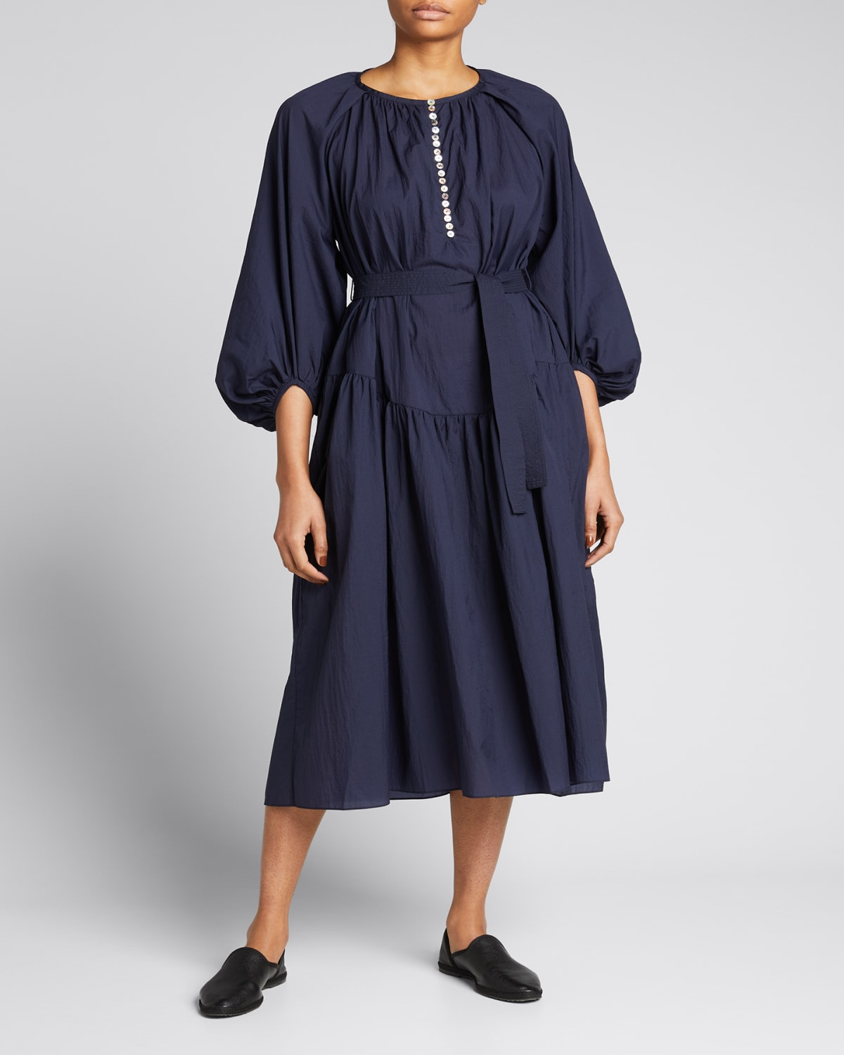 Ruth Peasant-Sleeve Belted Maxi Dress