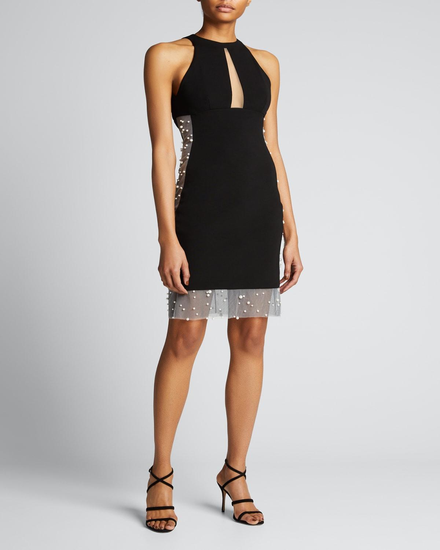 Jersey Open-Back Dress w/ Pearl Tulle
