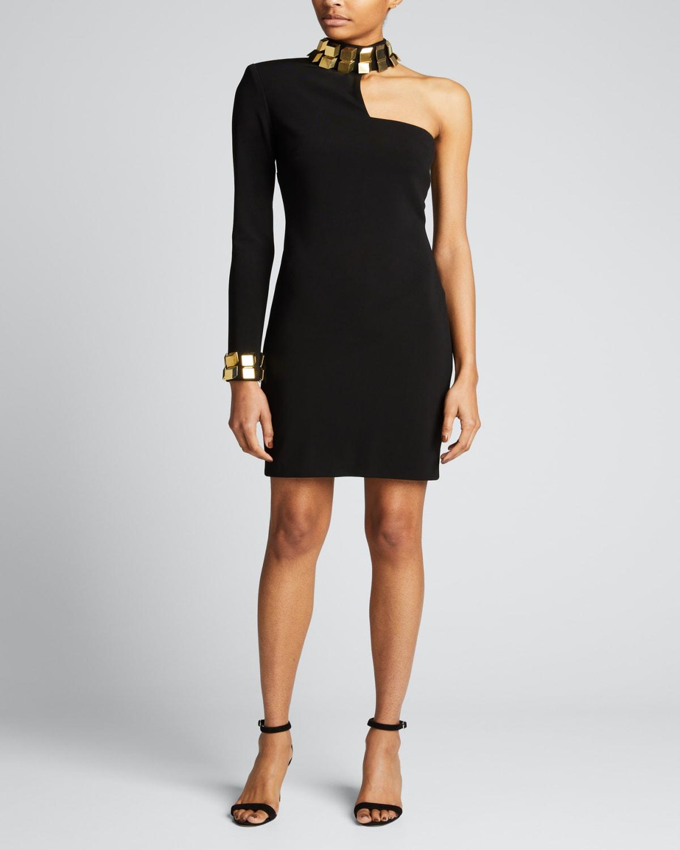 Embellished One-Shoulder Jersey Dress