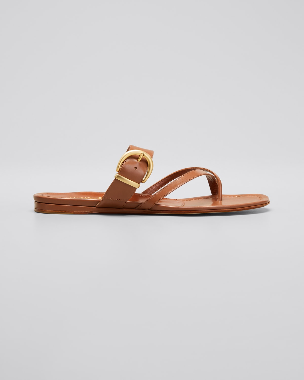 Hayley Calfskin Buckle Flat Slide Sandals