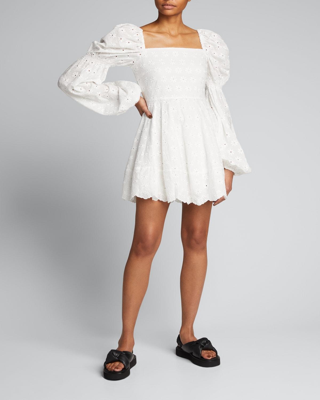 Wren Eyelet Puff-Sleeve Short Dress