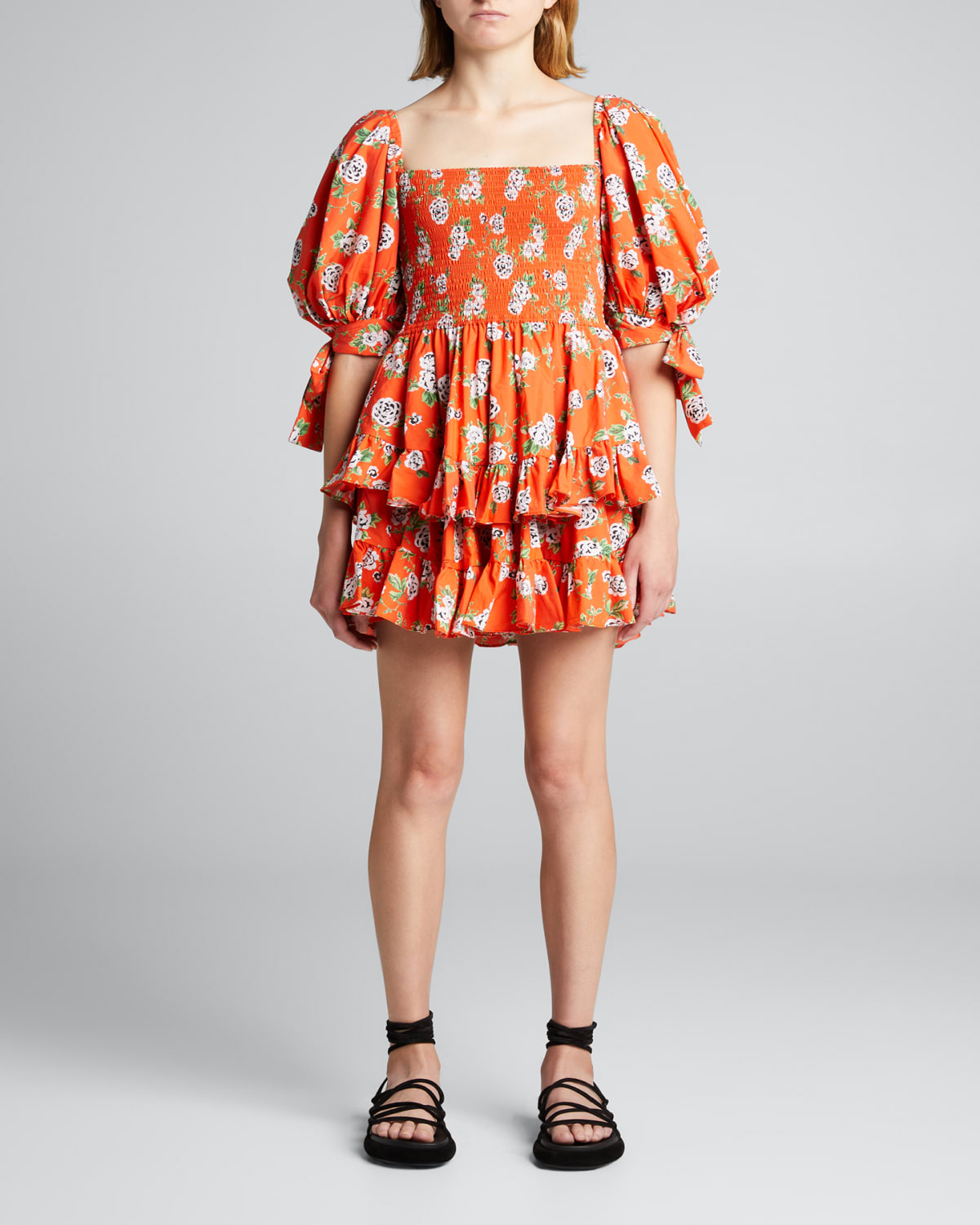 Finley Square-Neck Tiered Short Dress