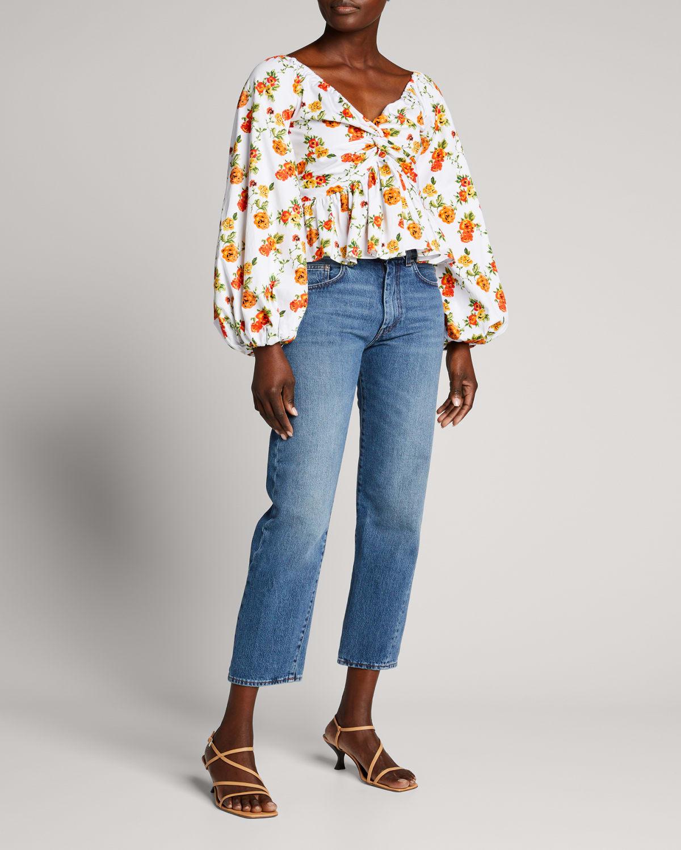 Onira Floral-Print Blouson-Sleeve Top