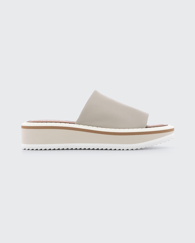 Fastie Leather Slide Platform Sandals