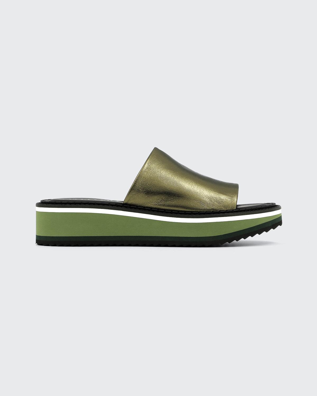 Fastie Metallic Slide Platform Sandals