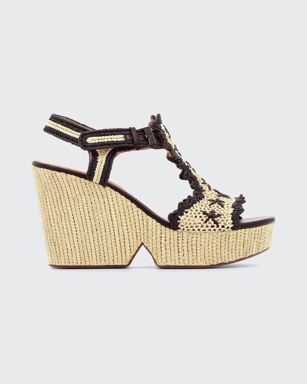 Daria Bicolor Raffia Platform Wedge Sandals