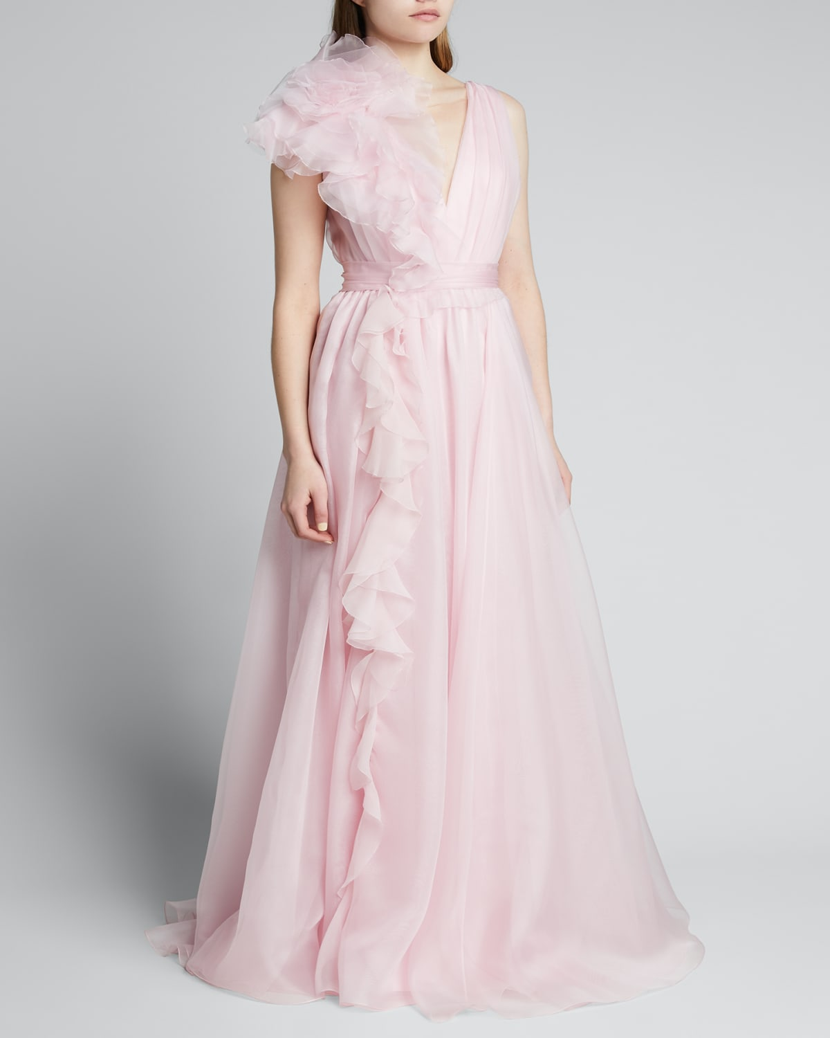 Plunging Cascading Ruffle Gown