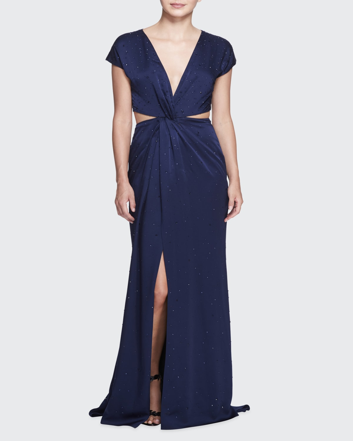 Embroidered Knotted-Front Cutout Gown