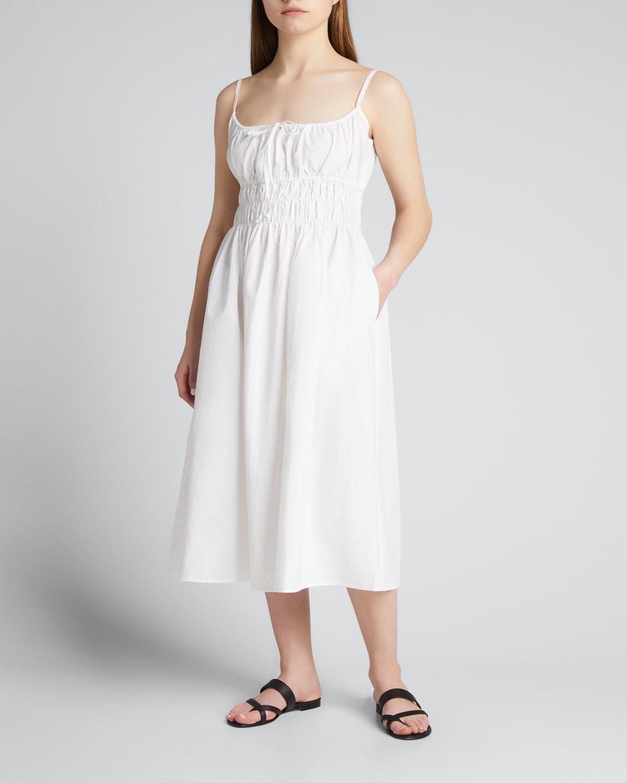 Gabriela Smocked Cotton A-Line Midi Dress