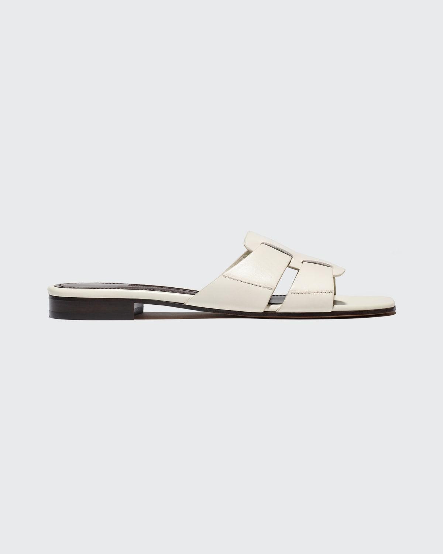 Leo Leather Flat Slide Sandals