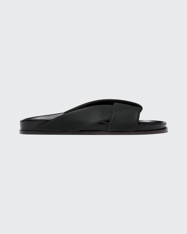 Folded Leather Slide Sandals